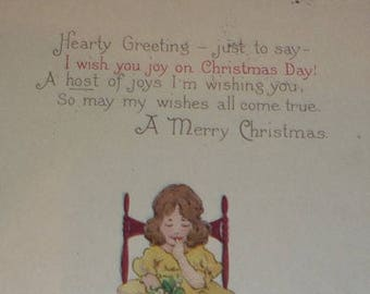 On Sale Cute Little Girl Under the Mistletoe Vintage Christmas Postcard