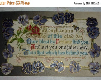 ON SALE till 7/28 Pansies With Birthday Verse Antique Winsch Postcard