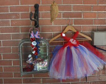 Tulle Tutu Firework Dress, Little Girls/Baby 4th of July Outfit, American Girl, Summer Baby, Tulle Dress, 4th of July Toddler Outfit