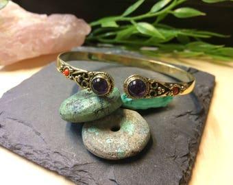 Amethyst Brass Bracelet