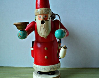 Santa Smoker Incense Burner Father Christmas Made in Germany Old Holiday Cottage Chic Decor Red Wood Santa Claus Yuletide Seasonal Gift