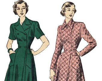 40s Double Breasted Housecoat Pattern Full Length Robe Pattern 1940s Unprinted Sewing Pattern Advance 4991 Size 20 Bust 38