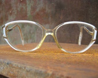 1970s Vintage Eyeglasses, white & clear plastic oval frames, gold metal hinges. French retro bohemian boho costume eyewear. From France