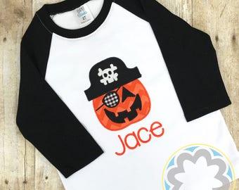 Boys Raglan with Pirate Pumpkin Monogrammed/Personalized Halloween, Thanksgiving, or Fall Shirt