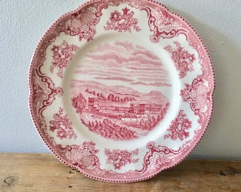 Old Britain Castles Pink Starter / Salad / Dessert Plate by Johnson Brothers, Chatsworth Castle 1792, Made in England Historical Collectible