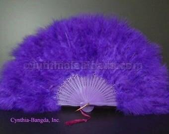 "Feather Fan, Purple Marabou Feather Fan 11"" x 20"" Dancing Burlesque Decor Photography WB21"