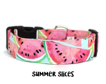 Watermelon Dog Collar, Summer Dog Collar, Fruit Collar, Dog Collar, Girl Dog Collar, Boy Dog Collar (Upgrade to Metal Buckle or Martingale)