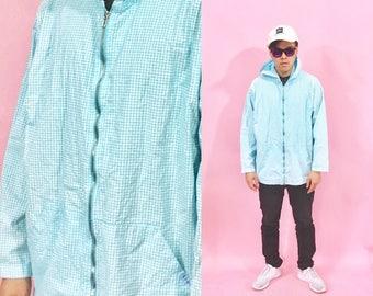 Vintage windbreaker hoodie 1980's 1990's normcore blue plaid vintage jacket 90's 80s