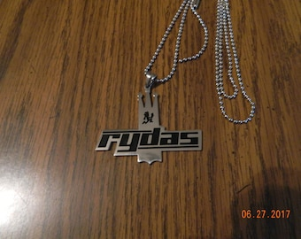 MIP- RYDAS Stainless Steel Pendant with Black enamel design and a 30 inch ball chain