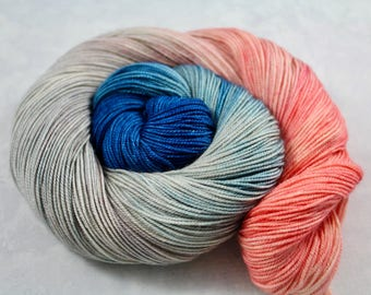 Pretty Swans Bite, Too. - 100g 437yd 3ply  Sw Merino/Cashmere/Silk MCS Fingering Sock Weight Yarn - blue, peach, silver, sand