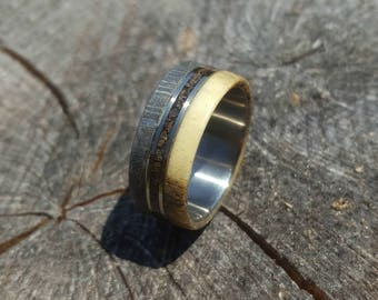 Meteorite Ring, Titanium Ring with Gibeon Meteorite, Deer Antler and Dinosaur Fossil Inlays, Meteorite Band with Titanium Inner, Mens Ring