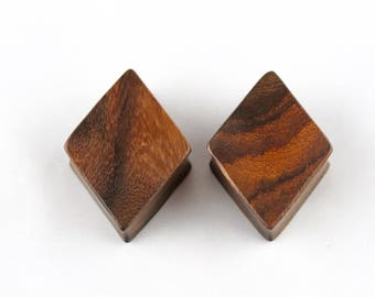 Wooden Diamond Plugs for Stretched Ears - Hand Carved Wood - Gauged Diamond Plugs - PA48
