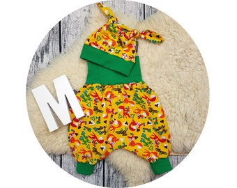 Newborn baby set, gift, harem trousers, harem pants, pants, baby pants, baby, Mitwachsen pants, Cap, node hat, Fox, forest, animals, fox
