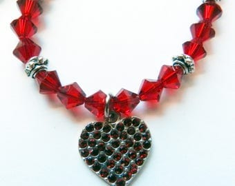 Swarovski Crystal Necklace, Sterling Silver Heart Pendant, Red Siam Swarovski Heart, Swarovski Jewelry, Charm Necklace, Beaded Necklace, Red