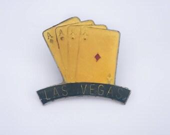 1950's Las Vegas Tie Tack Pin Cards Poker Four Aces Gambling
