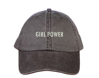 """GIRL POWER Washed Dad Hat, Embroidered """"Girl Power"""" Feminism Hat, Low Profile Girl Gang Feminist Baseball Cap Hat, Expresso Brown"""