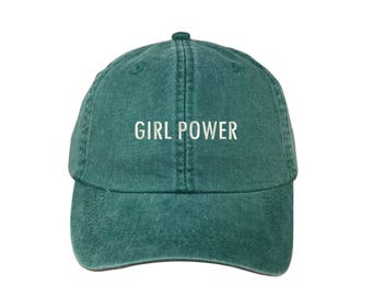 """GIRL POWER Washed Dad Hat, Embroidered """"Girl Power"""" Feminism Hat, Low Profile Girl Gang Feminist Baseball Cap Hat, Forrest Green"""