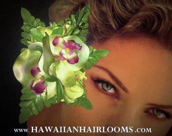GREEN MIST Orchids-Hawaiian hair clip,Tropical Hair Clip,Silk Hawaiian Orchids,Hula flowers,Beach Brides,Romantic weddings,Pinups hair clip.