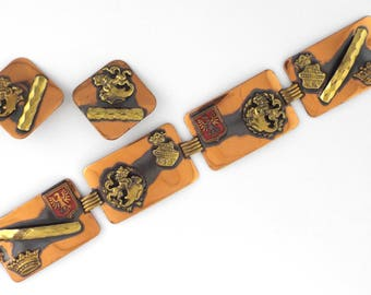 1940s - EAST GERMANY - Rare Vintage Blazons Copper Bracelet & Earrings Set
