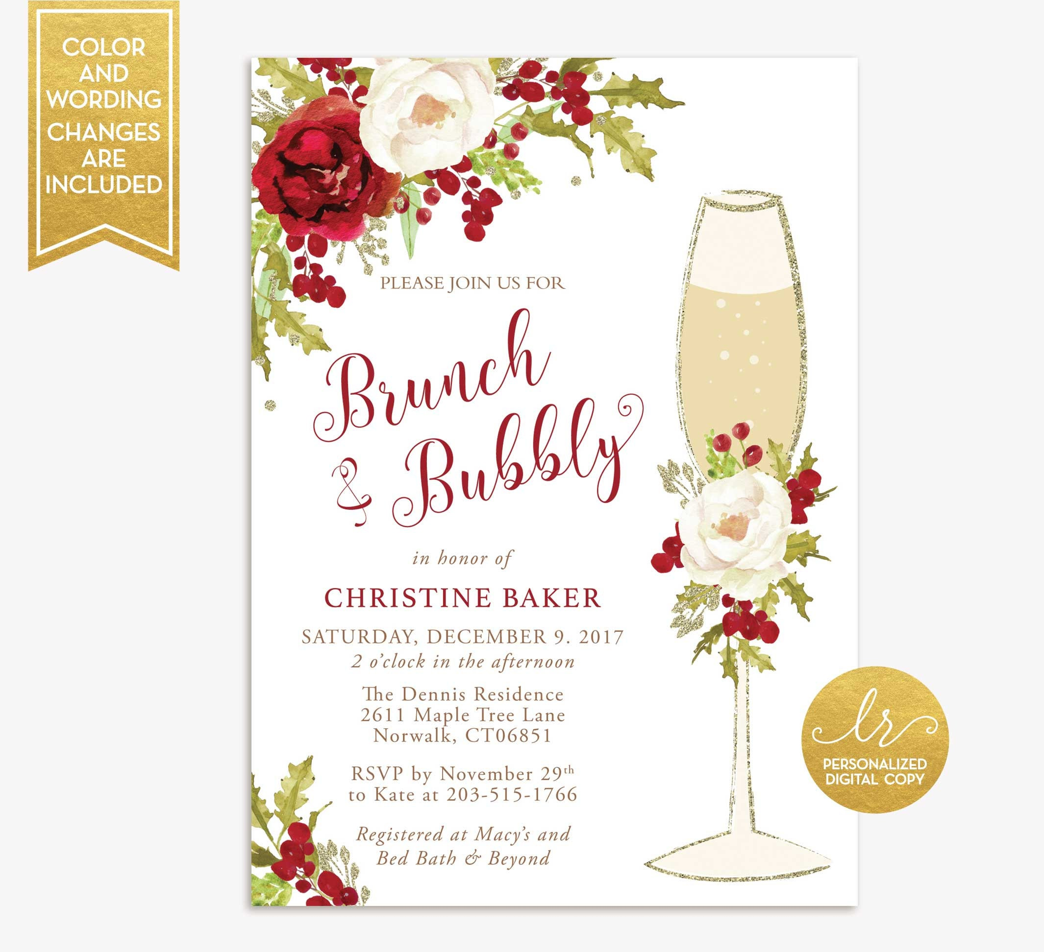 winter brunch and bubbly bridal shower invitation holiday