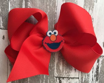 Elmo Hair Bow - Elmo Bow - Elmo Birthday - Elmo Birthday party - Elmo Sesame Street - Sesame Street  Hair Bow