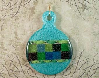 Blue checkered fused glass ornament