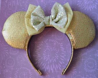 Gold Ears Sparkly Metallic Disney Minnie Mouse Ears