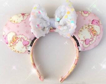 Pink Santa Claus Christmas Ears Minnie Mouse Ears