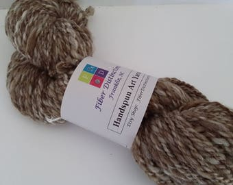 "Handspun Sport Wt. Art Yarn ""Tree Bark"" - 2 Skeins Available - Brown, Beige, Finn Wool"