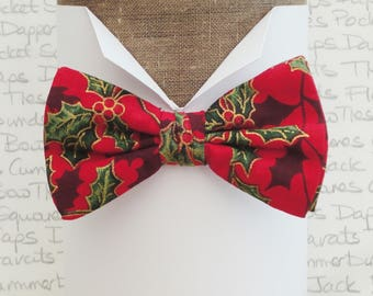 Christmas bow tie, holly on a red background pre tied bow tie, bow ties for men