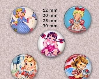 """80 % off Summer Sale 12 mm, 20mm, 30 mm, 25 mm Vintage Little Girl Necklace 1 inch Circle Digital Downloads Bottle Cap Images 1 """" Round"""