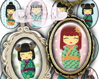 Kokeshi Japanese Dolls 18 x 25 mm Oval Images for Pendants Digital Collage Sheet Instant Download Paper Craft Scrapbooking