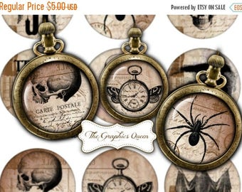 80 % off Graphics SaLe Vintage Halloween Images 2.5 inches circles Steampunk Jewelry Printable Images Halloween Digital Collage Sheet Cupcak