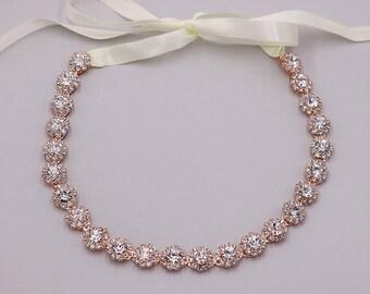 Bridal Headband Rose Gold, Bridal Ribbon Headband, crystal ribbon headband, wedding headpiece, rhinestone tiara, Alicia Rose Gold Headband