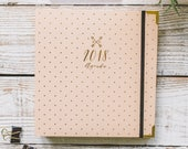 70% OFF SALE - Weekly, Monthly 2018 Goal-Oriented Agenda Planner, - Gold Polka Dot with Navy Blue or Ivory Cover and gift box. 9.5 x 9 Inch
