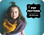 English-French Two Needle KNITTING PATTERN / Digital Download / #40 / Knitted Winter Infinity Scarf / 8Y to Adult / US 8 / 5 mm