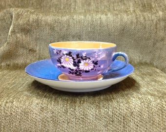 Phoenix China Lusterware Cup and Saucer, Hand Painted Floral Daisy Pattern, Czechoslovakia, 1930s, Blue and Peach Teacup