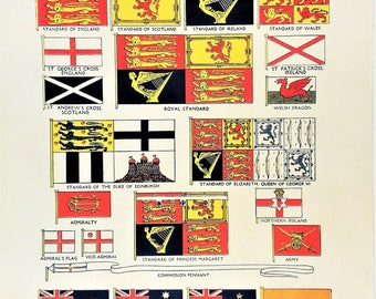 British Commonwealth and Empire flags vintage flag print historical international banners emblems Vexillology pennants Royal Standard