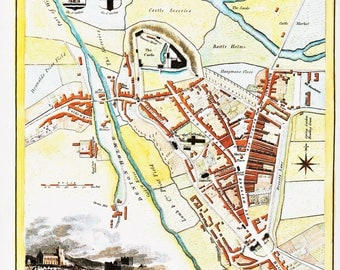 historical Carlisle town map Cumbria Cumberland 1837 reproduction North of England county maps UK map vintage office pub decor Thomas Moule