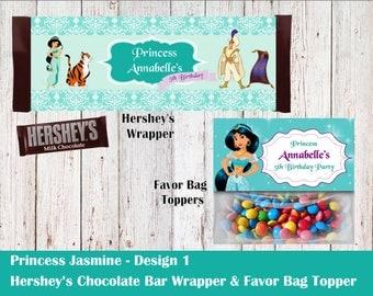 Disney Princess Jasmine Hershey's Wrapper and Favor Bag Toppers