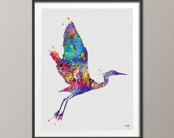 Blue Heron Watercolor Bird Painting Print Animal Art Print Great Blue Heron Nursery Decor Art Wall