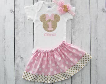 Pink Gold Minnie Mouse First Birthday Outfit - onesie and skirt, girl birthday, pink gold dress, first birthday outfit girl, minnie pink