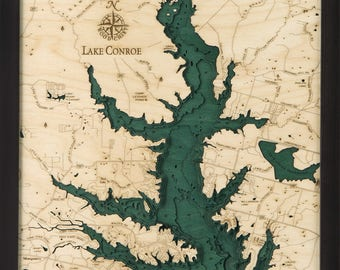 Lake Conroe, TX Wood Carved Topographic Depth Map
