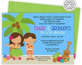 Luau Invitation Hawaiian Invitations Birthday Party