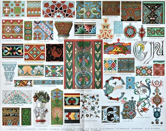 Ornaments used in the Middle Ages. Old book plate, 1904. Antique illustration. 113 years lithograph. 9'6 x 11'7 inches.