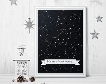 Stars - PRINTABLE/DOWNLOADABLE poster scandinavian style typoposter typographic wall decoration