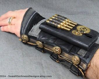 Steampunk PHONE BRACER Industrial Wrist Cuff MILITARY DieselPunk Cuff Black Leather Cuff Arm Bracer Mad Max Bracer by SweetDarknessDesigns