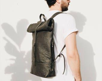 Pinatex Backpack Man, Backpack Woman, Fashion Backpack, Design Backpack, Pinatex Bag, City Backpack, Gift for him, PINA FOLDOVER BACKPACK