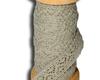 Bobbin lace grey 10 meters 1.7 cm