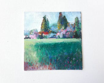 Abstract landscape, original oilpainting, small painting, modern landscape, small contemporary art, original landscape, tiny painting, 6x6